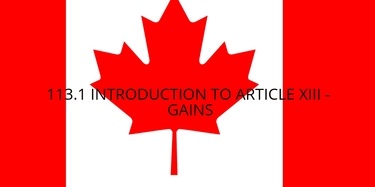13.1 Introduction to Article XIII - Gains